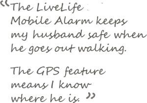 livelife mobile alarm has GPS and fall detection